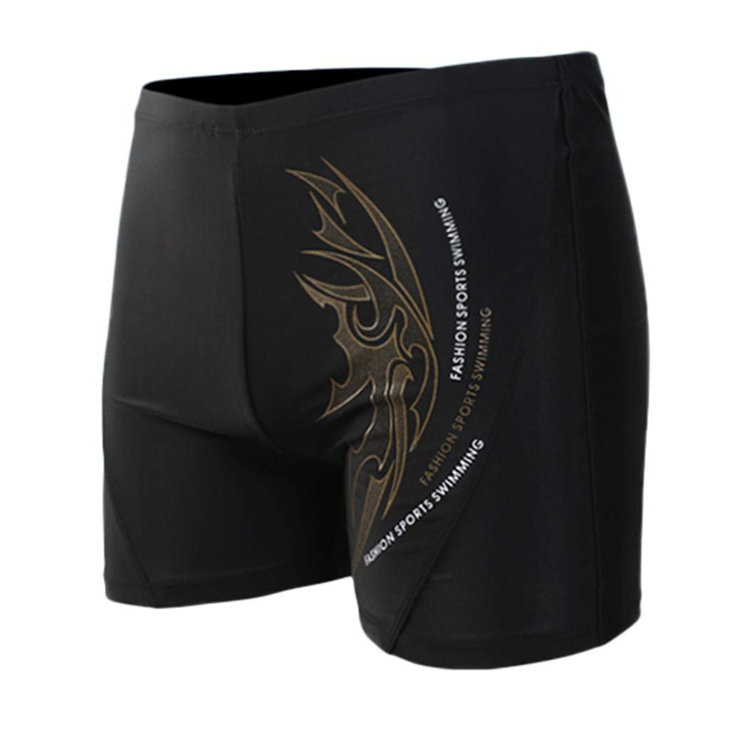 XQXCL Boxer Brief Swimming Trunks for Men Printing Sports Tight Flat Angle Shorts Coffee