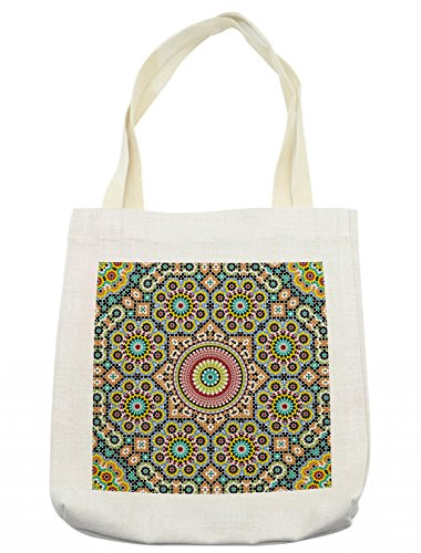 Lunarable Moroccan Tote Bag, Aged Old Arabic Design Arabian Cultural Engraving Art History Tourist Attraction, Cloth Linen Reusable Bag for Shopping Groceries Books Beach Travel & More, (Tourist Costume Makeup)