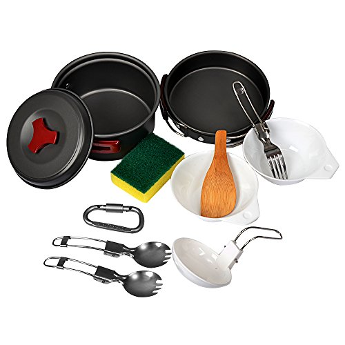 Portable Camping Cookware Mess Kit- 11 Piece Non-Stick Cookset, Lightweight, Durable & Compact, Perfect Outdoor Cooking Equipment for Backpacking, Hiking and Picnic Review.