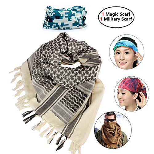iMucci 43'x43' Arab Tactical Scarf 100% Cotton - with Magic Bandanas Desert Shemagh Military Keffiyeh Head Neck Wrap Scarfs for Men and Women (Khaki)