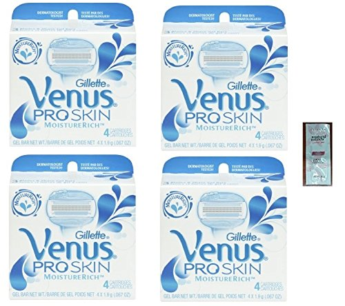 GlLLETTE Venus Pro Skin Refill Razor Blade Cartridges, 16 Count (4 Packs of 4) w/ Free Loving Care Conditioner Packette by PROSKIN