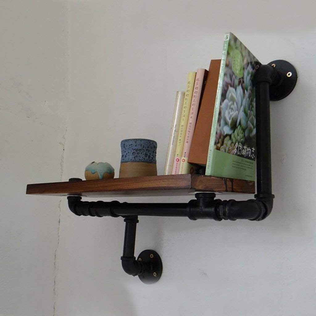 YANG Iron Retro Bookcase Loft Wall Wall Mount Shelf Home Bar Wooden Shelf Water Pipe Decoration Bookshelf