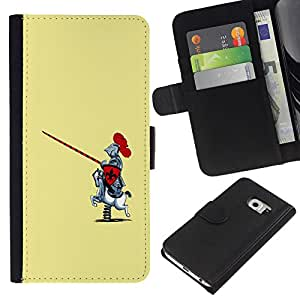 All Phone Most Case / Oferta Especial Cáscara Funda de cuero Monedero Cubierta de proteccion Caso / Wallet Case for Samsung Galaxy S6 EDGE // Knight Warrior Funny Caricature Rocking Horse