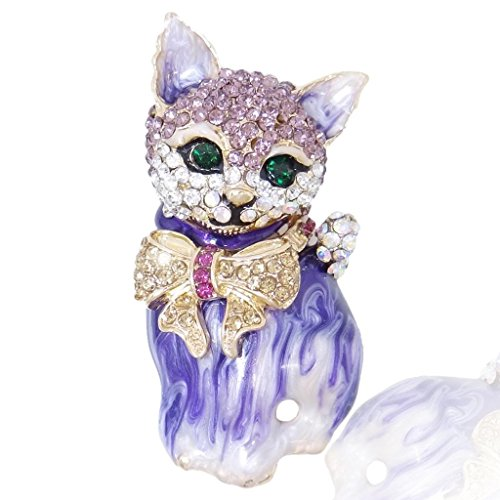 EVER FAITH Plump 3D Cat Pet Austrian Crystal Enamel Brooch Gold-Tone 51EOXOw0lcL