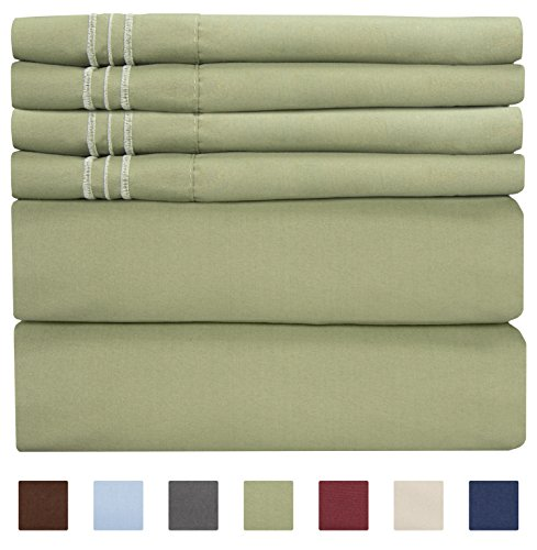 California King Size Sheet Set - 6 Piece Set - Hotel Luxury Bed Sheets - Extra Soft - Deep Pockets - Easy Fit - Breathable & Cooling - Wrinkle Free - Comfy - Sage Green Bed Sheets - Cali Kings Sheets