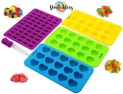 4 Pack Premium Gummy Bear Mold & Hearts, Stars & Shells Silicone Molds + Dropper and gummy Recipe included ✮ Make Gummy, Chocolate, Flavored Ice and everything you want! The best quality silicone
