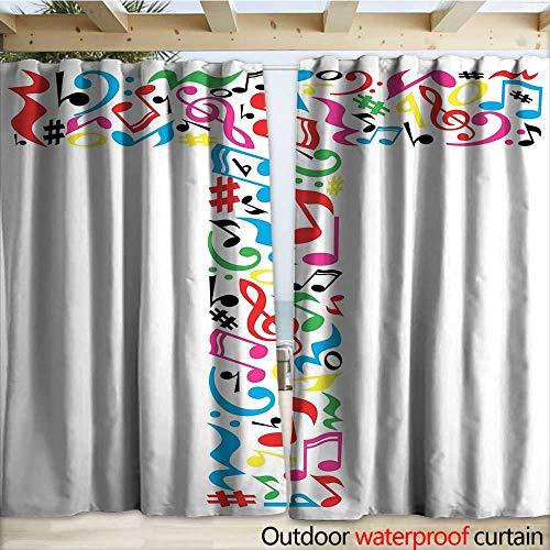 warmfamily Letter T Grommet Curtain Panel Uppercase T Letter Colorful Sheet Music Elements Font Alphabet Design Art Style W120 x L84 Multicolor