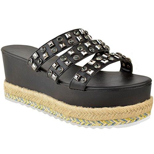 Semelle Thirsty pour Sandales Imitation à l'été à à Femme Plateforme Enfiler pour Noir Fashion Cuir Clous qAwfdPtA