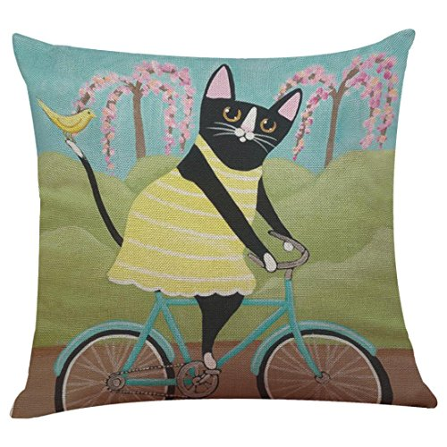 GBSELL Pillow Cover Riding Cat Pillow Case Sofa Throw Cushion Cover Party Home Decor (C)