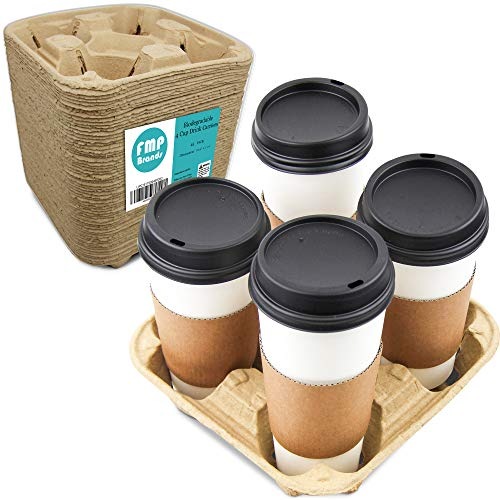 [45 Pack] Pulp Fiber Drink Carrier Tray Biodegradable 4 Cup Container Compostable Stackable Ecofriendly Carry Holder for Hot and Cold Drinks Carry Out Tray 4 Cup