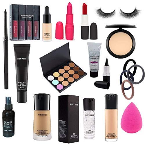 A66 Combo Of Foundation Brush, Kajal, Eyeliner, Primer, Mascara, Concealer, Liquid Colour Mate, Sponge, Eyelashes.