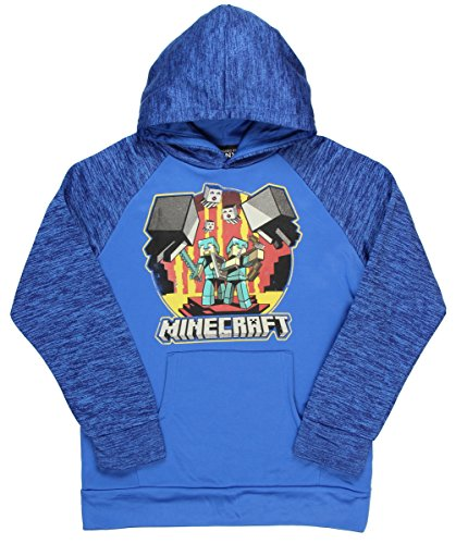 JINX Minecraft Big Boys' Retro Nether Pullover Hoodie (Blue, Large)