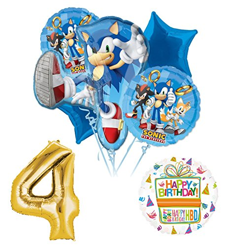 Sonic The Hedgehog 4th Birthday Party Supplies and Balloon -