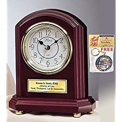 Archway Rosewood Desk Clock Gold Engraved Table Graduation Executive Employee Appreciation Service Award Retirement Gift Present Coworker Retiree Recognition