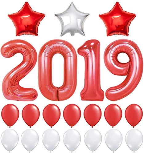 2019 Balloons, Red for New-Year, Large , 40 Inch | Red and White Ballon Kit | New Years Eve Party Supplies 2019 | Graduations Party Supplies 2019 | New Years Party Decorations, Graduation Decorations