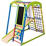 Dani LLC Colored Indoor Wooden Playground for Kids SportWood Indoor Gym Sets Up Climbing Ladder Swing Slide and Rings (SportWood Plus)