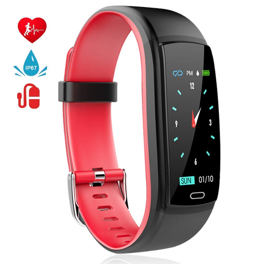 Fitness Armband mit Pulsmesser Blutdruckmesser Fitness Tracker Wasserdicht IP67 Aktivitä tstracker Schrittzä hler Kalorienzä hler Bluetooth Pulsuhren mit Farbdisplay Schlafmonitor Stoppuhr Countdown MINLUK