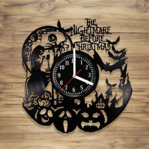 DecorArt Studio The Nightmare Before Christmas Vinyl Wall Clock Simply Meant to Be Jack Sally Handmade Art Home Unique Gift idea Him Her (12 inches)]()