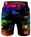 Idgreatim Boys Beach Shorts 3D Colorful Smoke Print Funny Lounge Wear Pants Pyjama Bottoms Jogger Lounge Pants with Pocket M