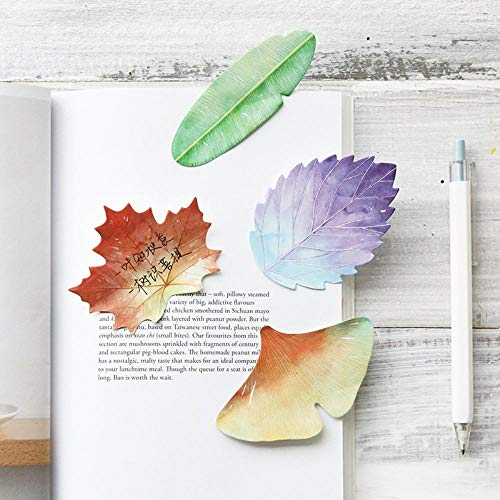 (24 pcs Leaf collection sticky notes Lotus Maple leaves memo pad bookmark stickers diary Stationery Office)