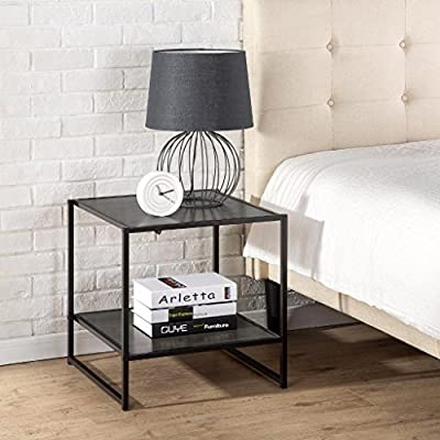 Zinus Dane Modern Studio Collection 20 Inch Square Side / End Table / Night Stand / Coffee Table, Rich black wood grain - Functional and stylish with additional lower shelf Easy to assemble and fits in small spaces Dimensions: 20 x 20 x 20 Inches (LxWxH) with 100 pounds weight capacity - nightstands, bedroom-furniture, bedroom - 51EOZDcS%2BXL. SS400  -