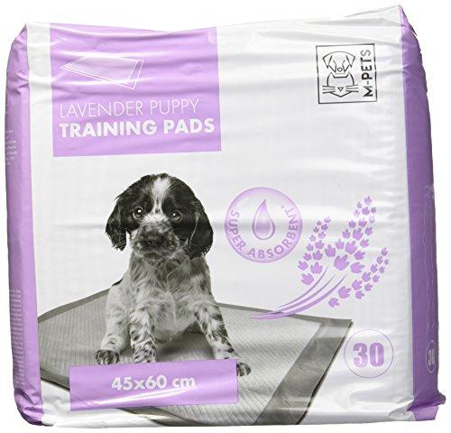 White Dog Training Pad (M-Pets 30PK White & Purple Puppy Training Pads, 17x23-inch)