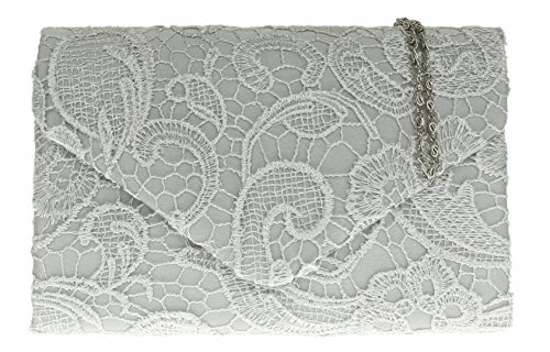 Girly HandBags Satin Lace Clutch Bag (Champagne) Silver