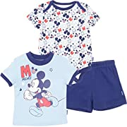 Disney Baby-Boys Newborn Mickey Mouse 3 Pack Bodysuit T-Shirt and Short, Blue, 3-6 Months