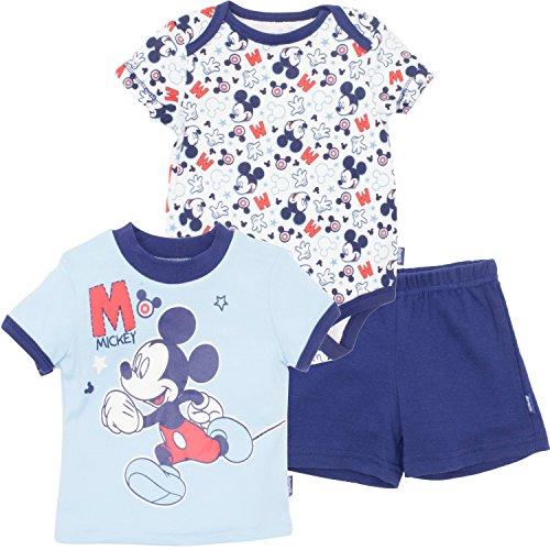 born Mickey Mouse 3 Pack Bodysuit T-Shirt and Short, Blue, 6-9 Months (Baby T-shirt Bodysuit Short)