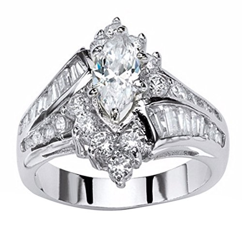 Sapphire Cocktail Estate Ring - FEDULK Womens Luxury Rings Jewelry Rhinestone Engagement Wedding Bridal Promise Anniversary Ring(Silver, 10)
