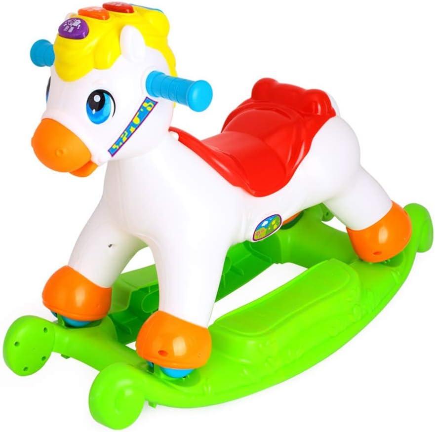 子供のロッキングホース 子供のロッキングホースグッズポータブル赤ちゃんロッキングホースシートの簡単な保管と運ぶ 筋肉を強化しバランスを高めるのに役立ちます (色 : 白, サイズ : 62*29*37CM)