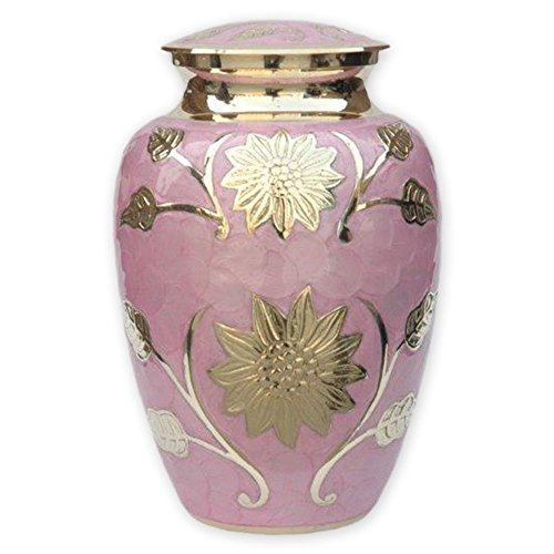 Beautiful Life Urns Pink Garden Cremation Urn Exquisite Funeral Urn Etched with Stunning Gold Flowers (Large)