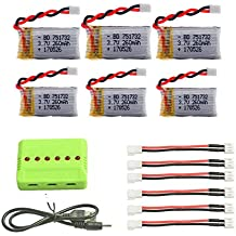 Quadcopter Drone Battery,Elflight upgrade 6pcs 260mah Battery and 1to6 Charger for Eachine R010 E010 JJRC H36 NIHUI NH010 Rc Quadcopter Drone Spare Parts
