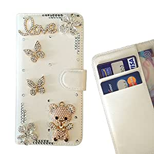 Cat Family Crystal Diamond Waller Leather Case Cover - FOR REDMI 3 - Bear Butterfly Love -