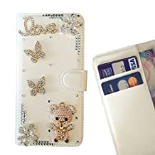 PIG Bling Crystal Diamond PU Leather Case Cover - FOR sony Xperia T2 Ultra / XM50h - Bear Butterfly Love -