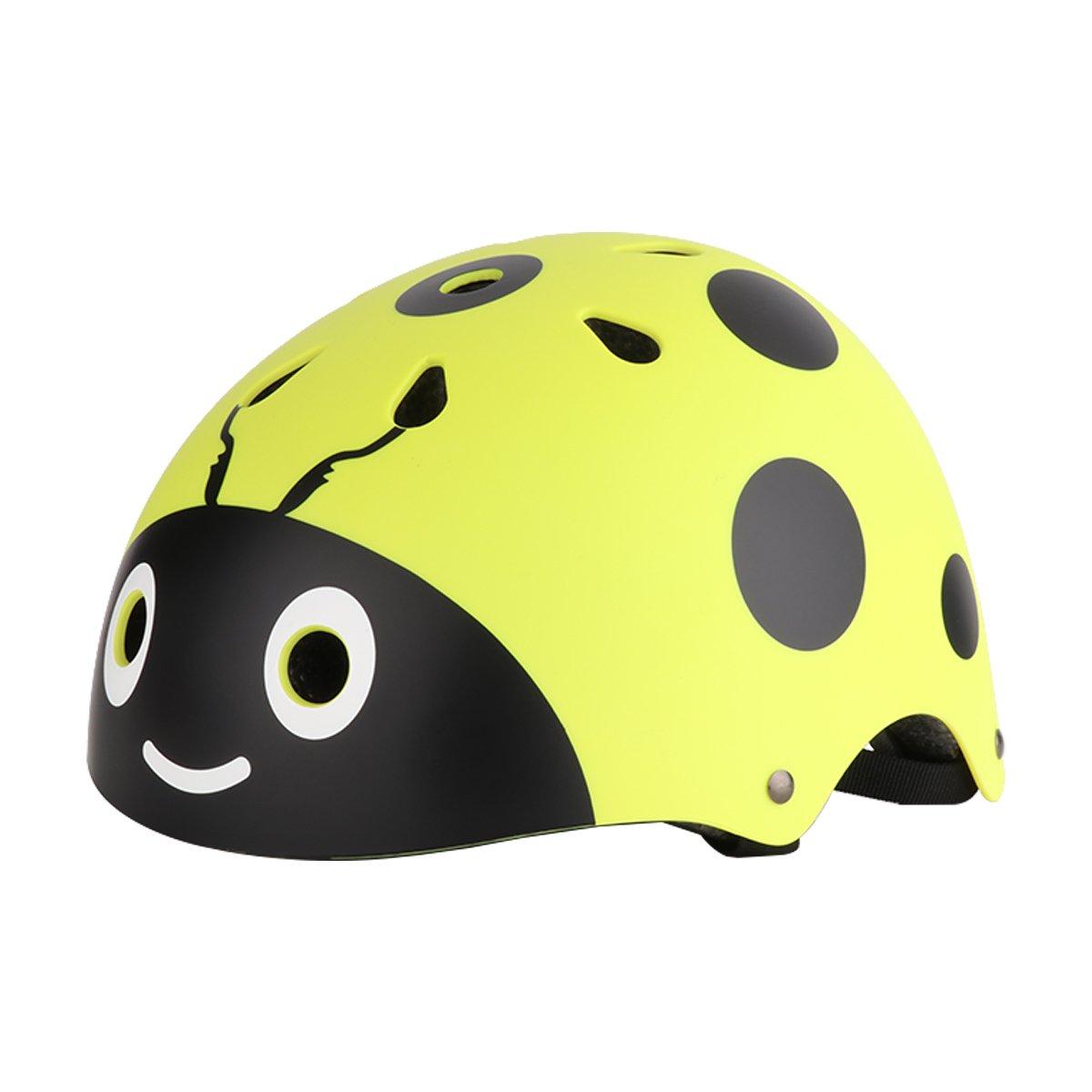 iEFiEL Casco Infantil de Bicicleta Ciclismo Esquí Patinaje Waveboard para Niño Niña Protección contra Caídas Casco Divertido Amarillo Talla única