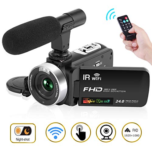 "Camcorder Digital Video Camera, Camcorder with Microphone WiFi IR Night Vision Full HD 1080P 30FPS 3"" LCD Touch Screen Vlogging Camera with Remote Control"