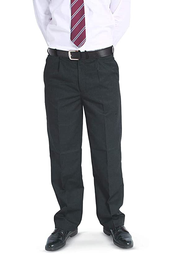 Senior Boys Sturdy Fit Trousers Grey or Navy Black Charcoal 42in Waists 26 in
