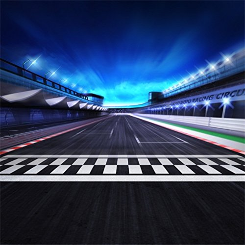 CSFOTO 8x8ft Background for View of Infinity Asphalt International Race Track with Start and Finish Line Photography Backdrop Night Scene 3D Racing Competition Photo Studio Props Vinyl Wallpaper ()