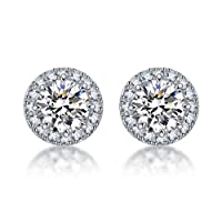 SENCLE S925 Sterling Silver with 18K White Gold Plated Cubic Zirconia Halo Stud Earrings for Women