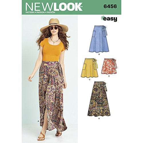New Look Patterns Misses' Easy Wrap Skirts in Four Lengths A (6-8-10-12-14-16-18) 6456
