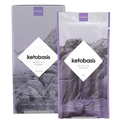 Synchro Ketobasis - C8 MCT Oil Powder - 100% Coconut Sourced - 0g Net Carbs - NO Dairy, NO Additives - C8 Caprylic MCT Ketones (20g Packets | Box of 12)
