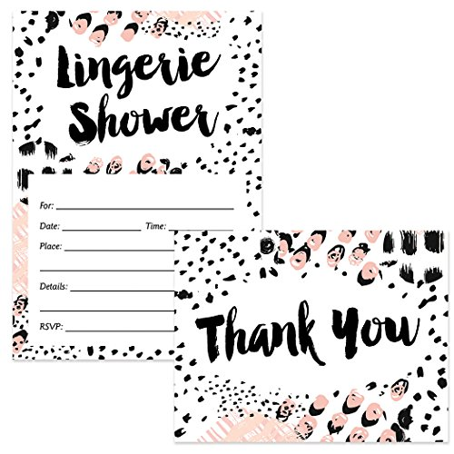 Shower Pink Lingerie (Lingerie Shower Invitations (25) & Thank You Cards (25) Matched Set with Envelopes Fun Bachelorette Party Bride Attendant Girls Night Out Fill-in Guest Invites & Folded Thank You Notes Great Value)