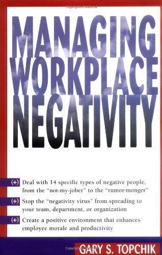 Managing Workplace Negativity Hardcover - January 15, 2001