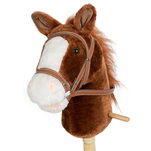 HollyHOME Horse Stick with Sound Toy Stuffed Animal Horse Stick 36 Inches Dark Brown from HollyHOME