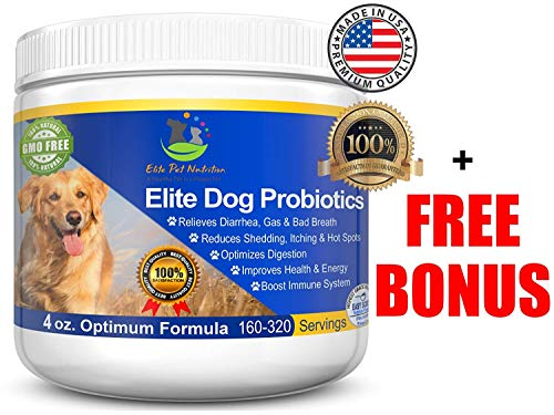 Elite Pet Nutrition Advanced Probiotic for Dogs Elite Dog Probiotics Powder by Veterinarian Recommended - Eliminates Diarrhea, Gas, All Natural Non-GMO & Gluten Free - FREE BONUS - Made in the USA