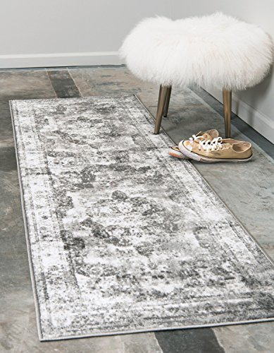 Runner Bath (Unique Loom Sofia Collection Traditional Vintage Gray Runner Rug (2' x 7'))