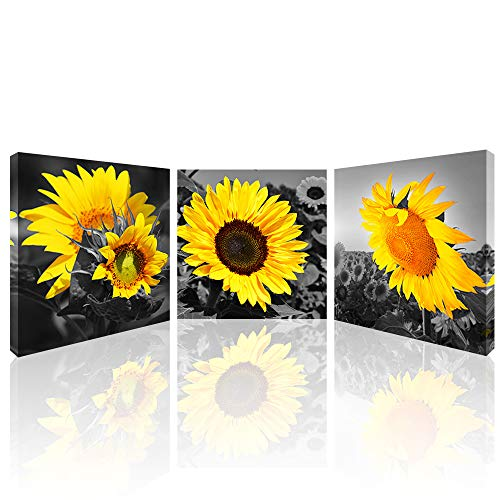 Sunflower Canvas Wall Art for Living Room Flower Canvas Prints Black and White Bathroom Wall Decor Yellow Sunflowers Pictures Giclee Prints on canvas for Kitchen Bedroom Home Decorations 12