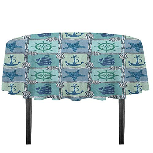 - kangkaishi Ships Wheel Printed Tablecloth Nautical Patchwork Pattern with Rope Starfish Sailing Ship Anchor and Wheel Outdoor and Indoor use D59.05 Inch Turquoise Navy