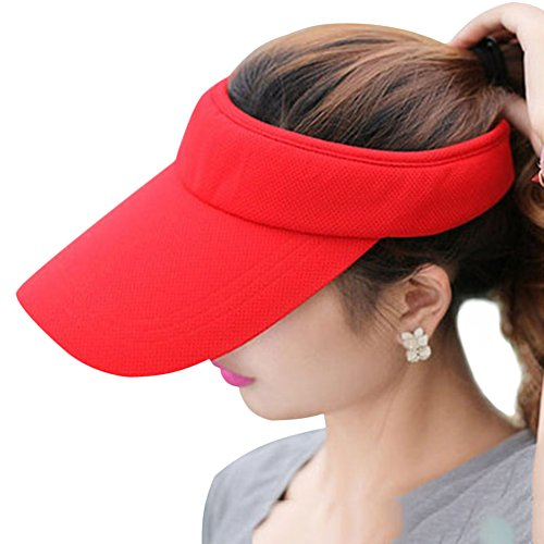 Plaid Adjustable Visor - Fasbys Multiple Colors Sun Visors for Women and Men, Long Brim Thicker Sweatband Adjustable Hat for Golf Cycling Fishing Tennis Running Jogging and Other Sports Red
